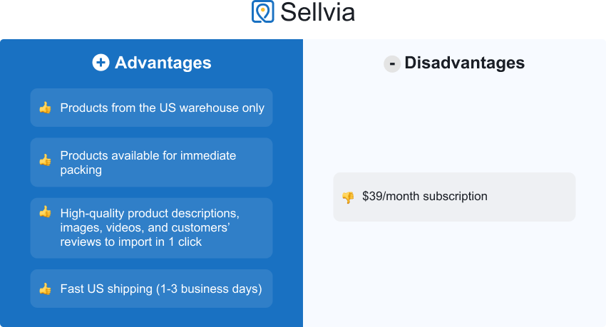 US dropshipping suppliers: Sellvia advantages and disadvantages