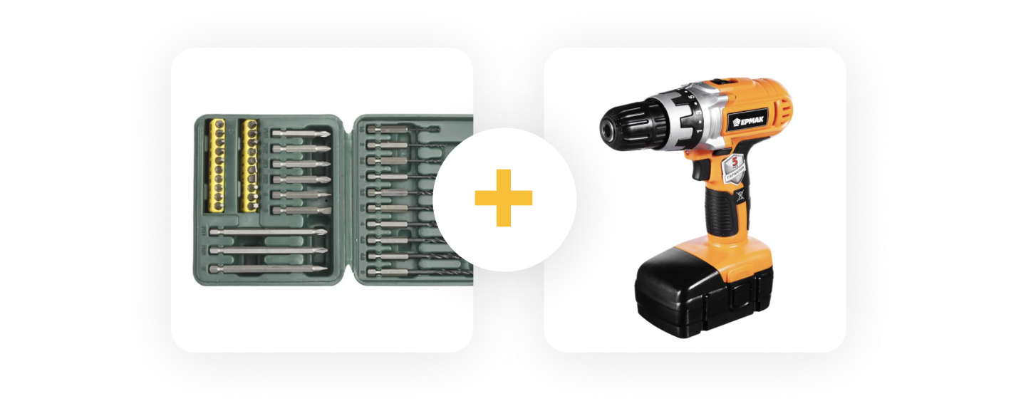 A bundle offering a drill and a set of attachments.