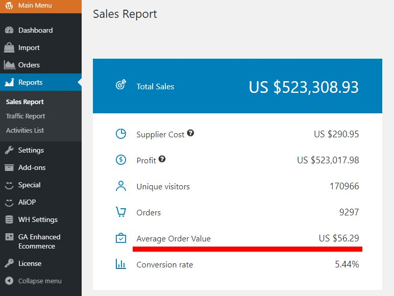 The average order value of a dropshipping store that makes over $500,000 a month.