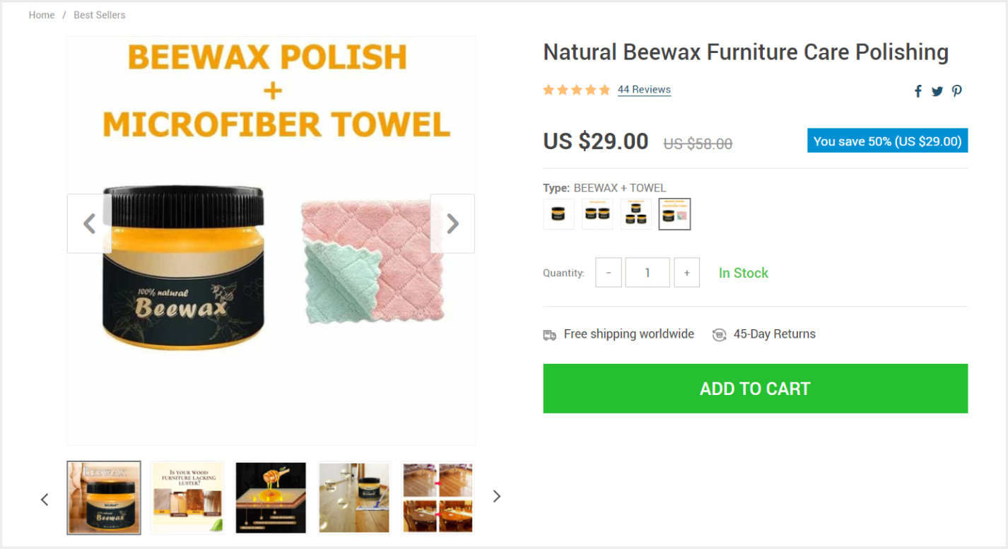 An example of a product bundle on a web store - a way to raise your average order value.