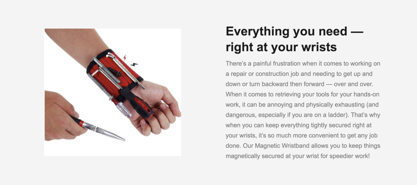 Product description of a magnetic wristband.