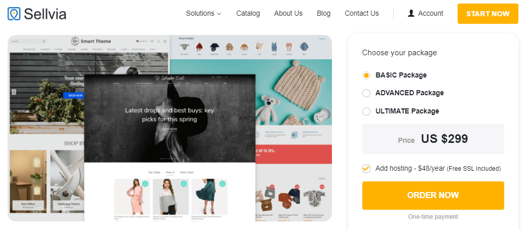 Sellvia's page where customers can order a Custom Dropshipping Store created according to your vision