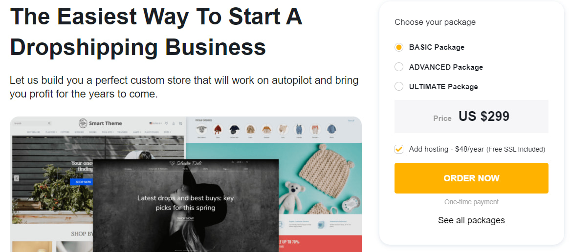 Sellvia's Custom Stores page where you can order a dropshipping store made with your ideas in mind.
