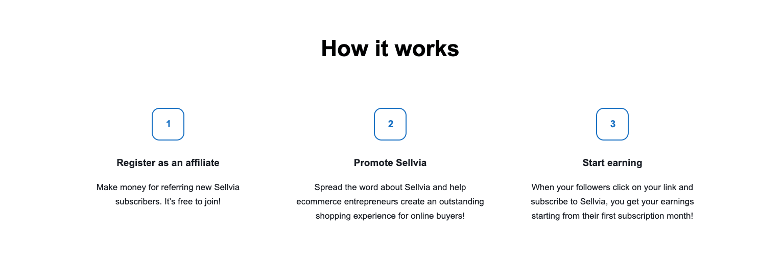 a picture showing how to become an affiliate with Sellvia