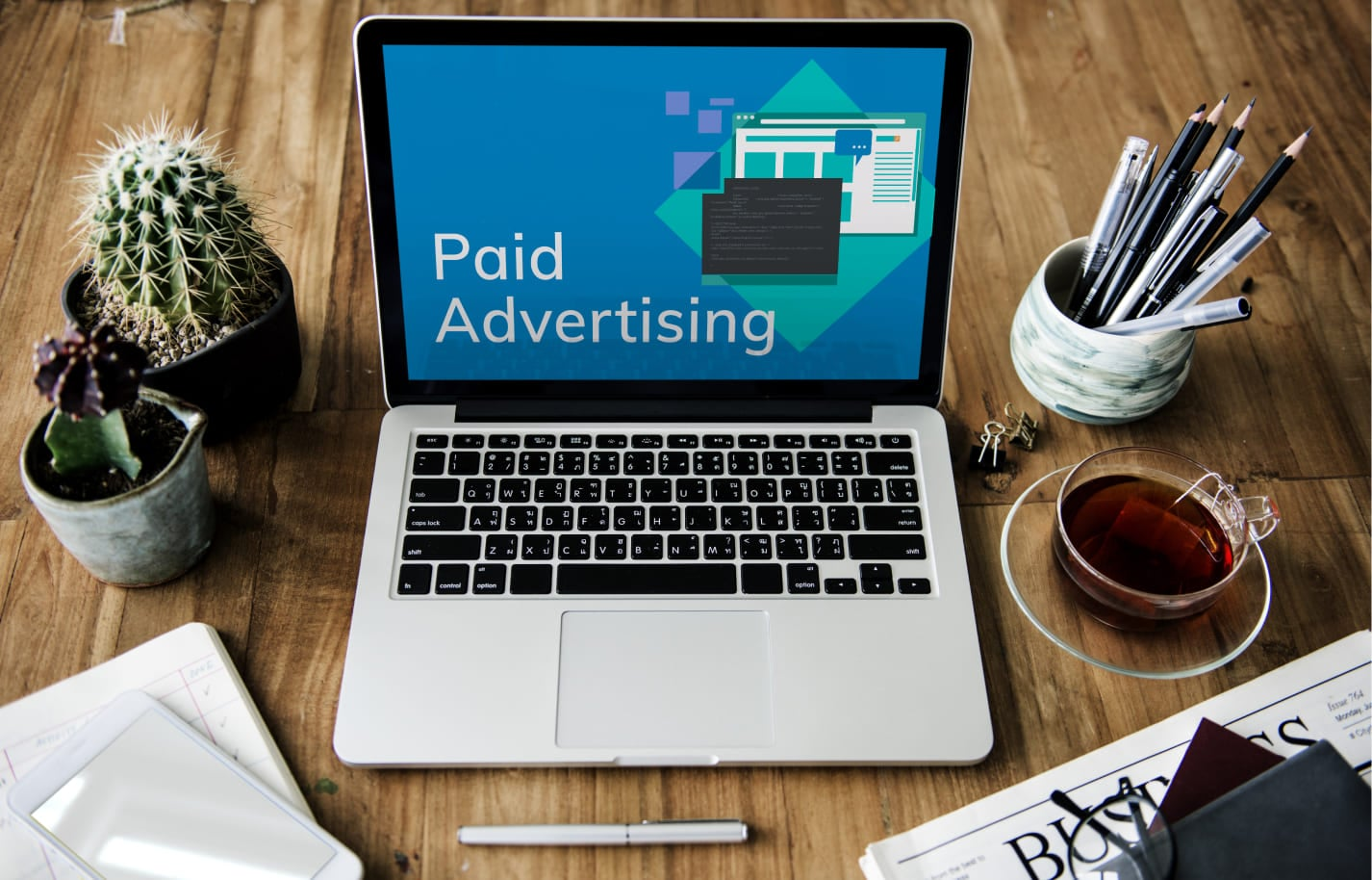 a picture showing paid advertising as a way of driving traffic to your online store