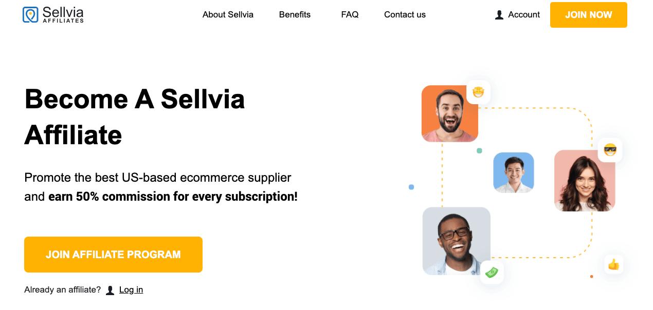 a screenshot of the Sellvia affiliate program
