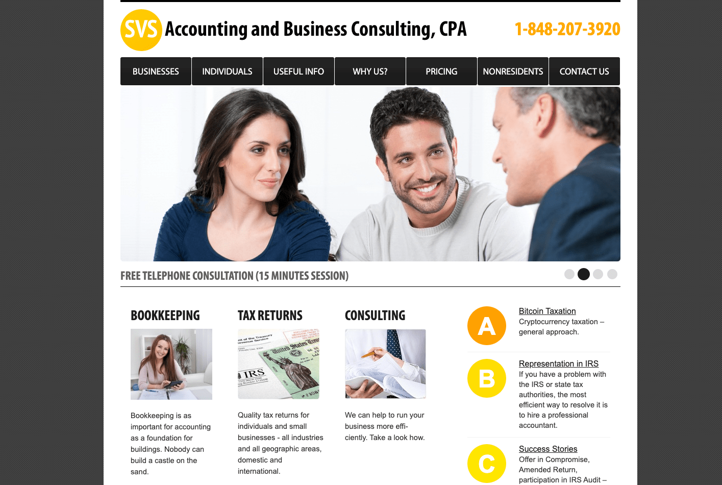 a screenshot of a website of the company providing business registration services