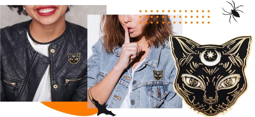 Halloween products: enamel black cat pin