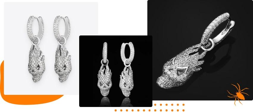 Halloween products: skull earrings