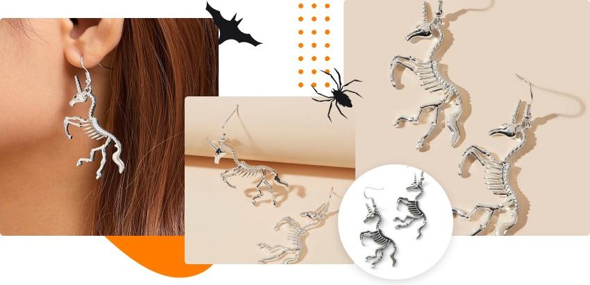 Halloween products: unicorn skeleton earrings