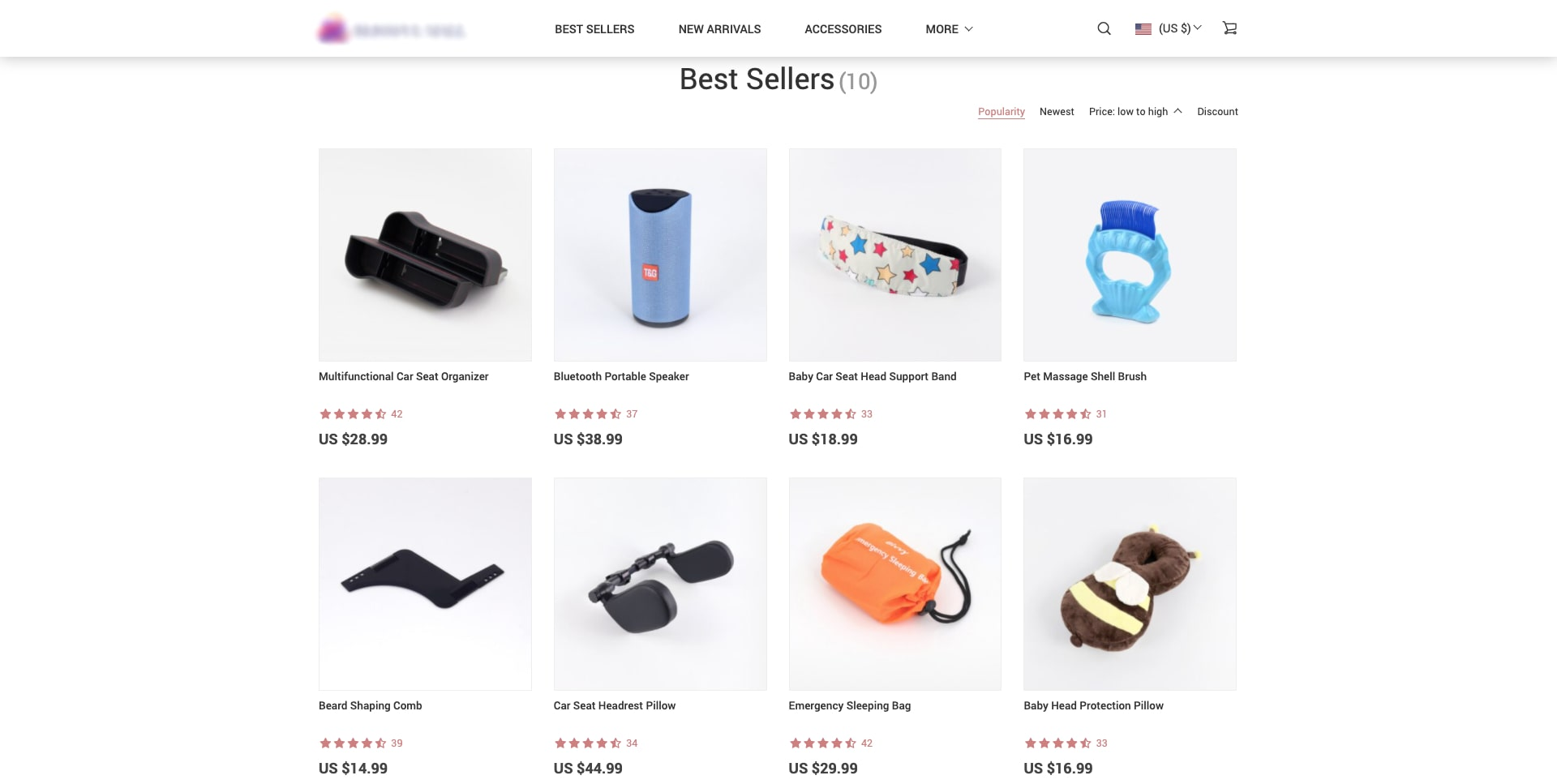 a screenshot of store's product category